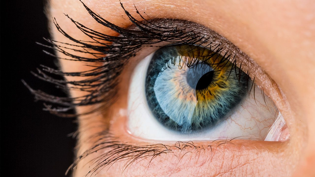 A closeup shot of a blue eye mixed with brown nuances