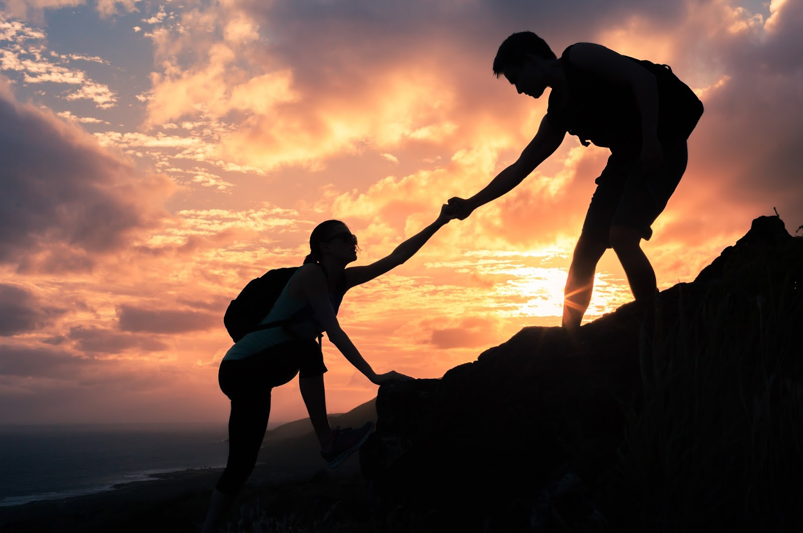 Couple climbing