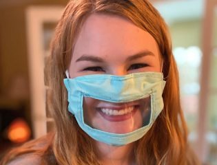 Ashley Lawrence and her mouth-visible mask