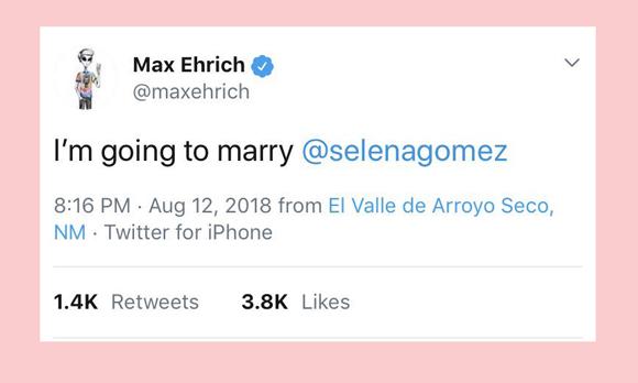 Max Ehrich's tweet about Selena Gomez
