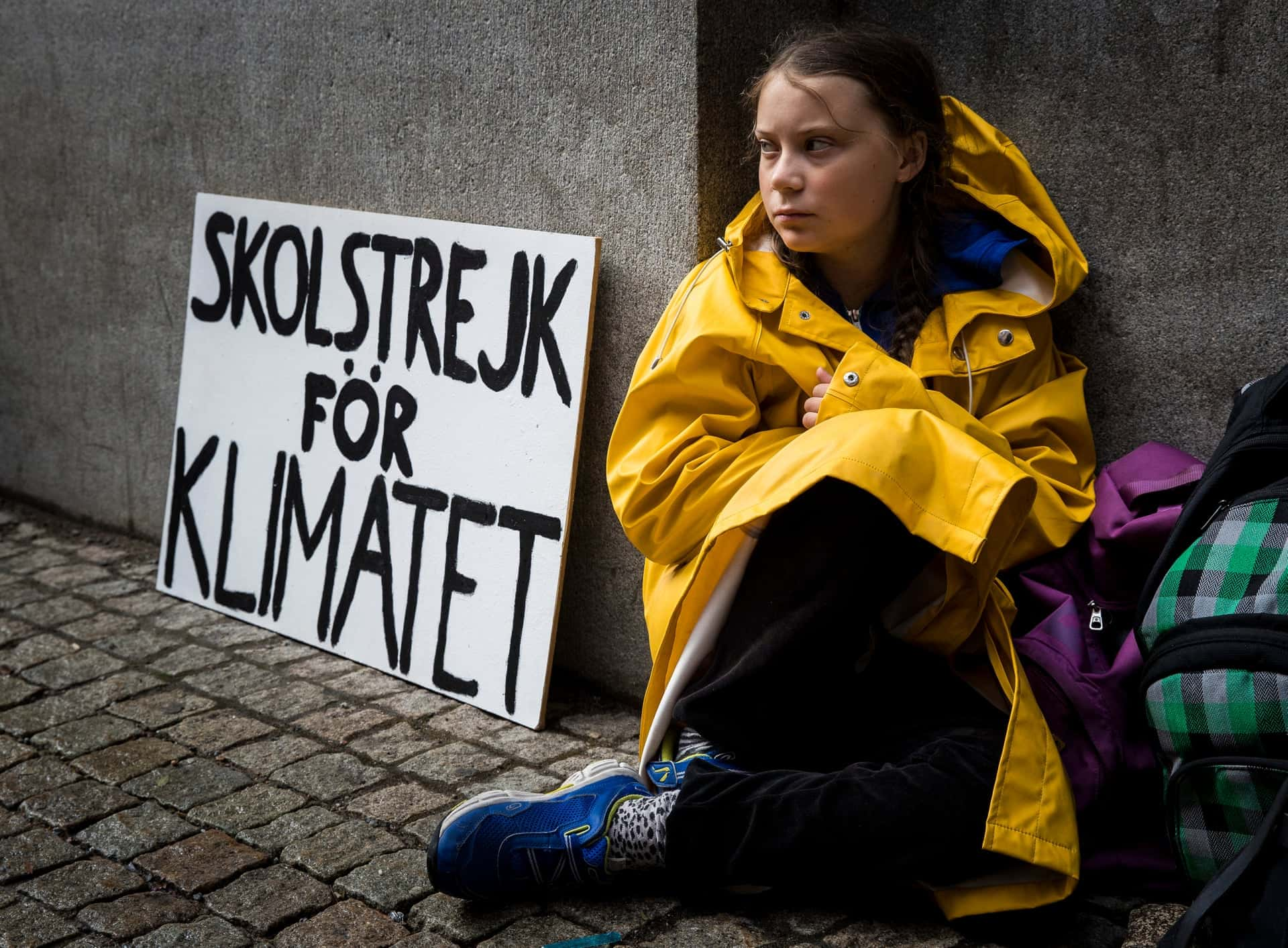 Greta protesting in front of her school