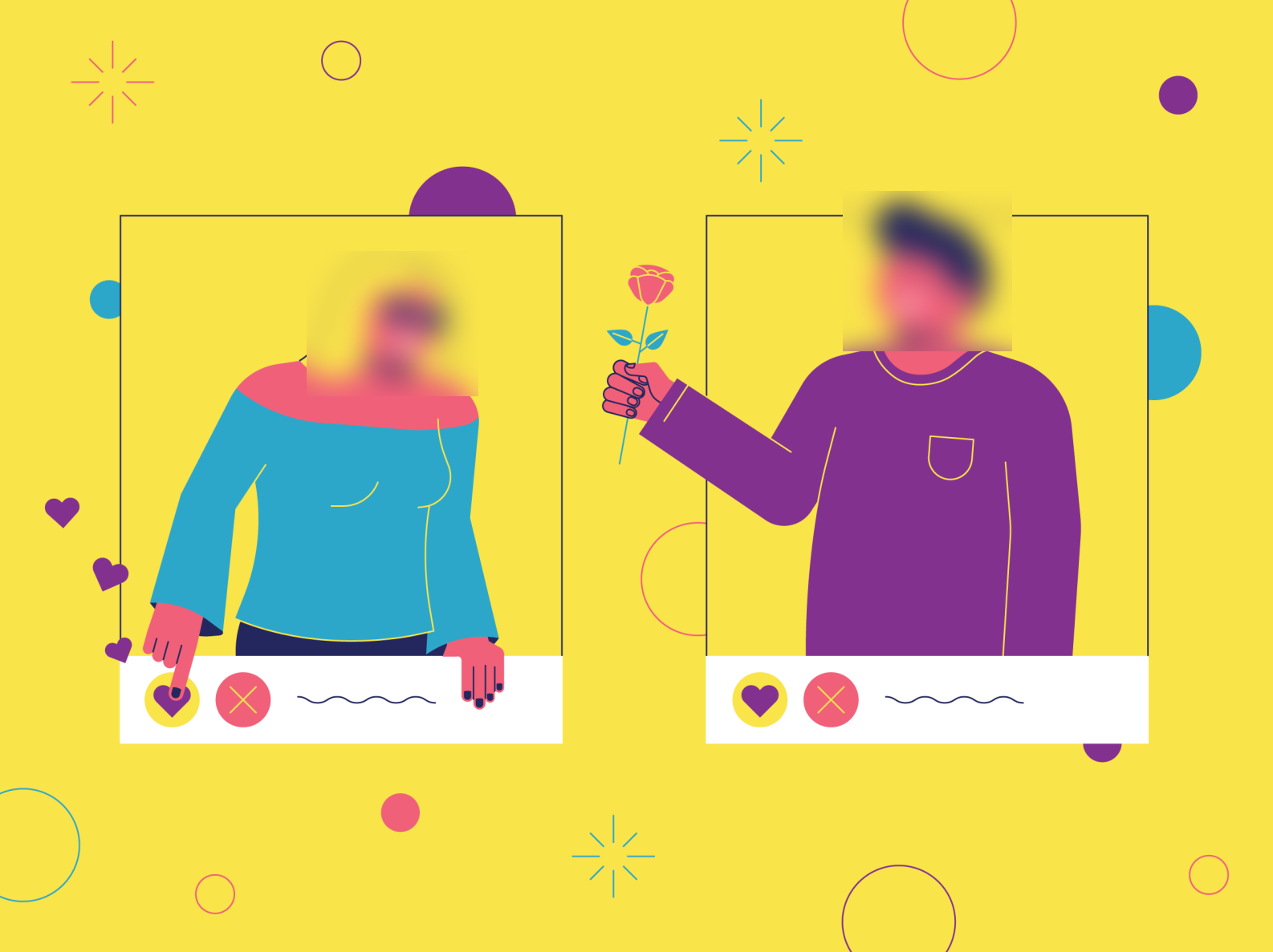 Dating app hides faces