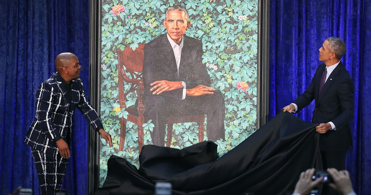 Artist Kehinde Wiley reveals his custom portrait of President Barack Obama for the Smithsonian's National Portrait Gallery, on February 12, 2018 in Washington, DC.