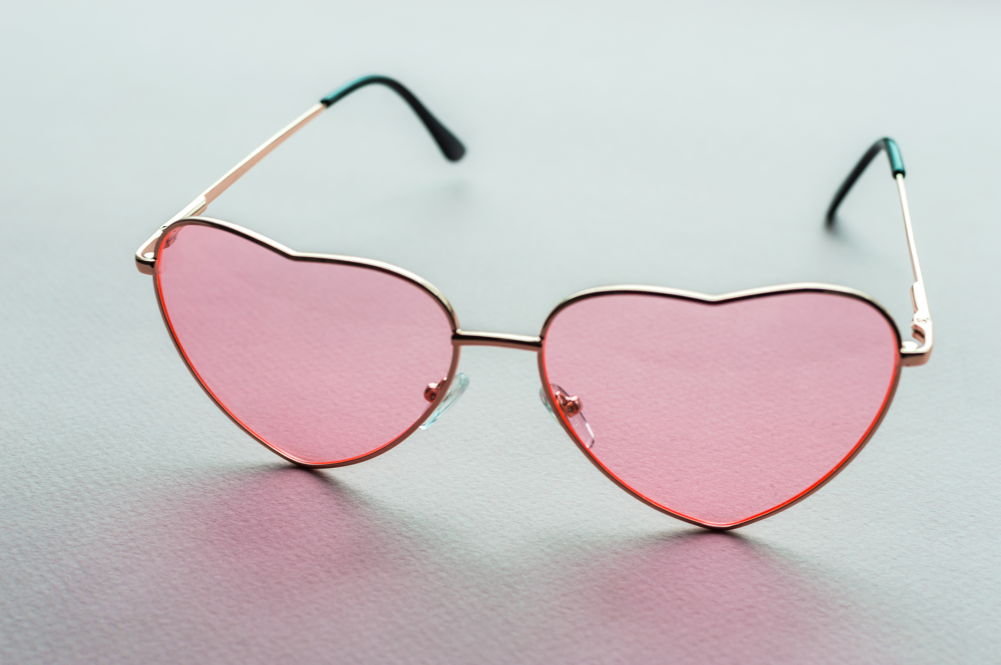 rose-colored glasses in the shape of a heart