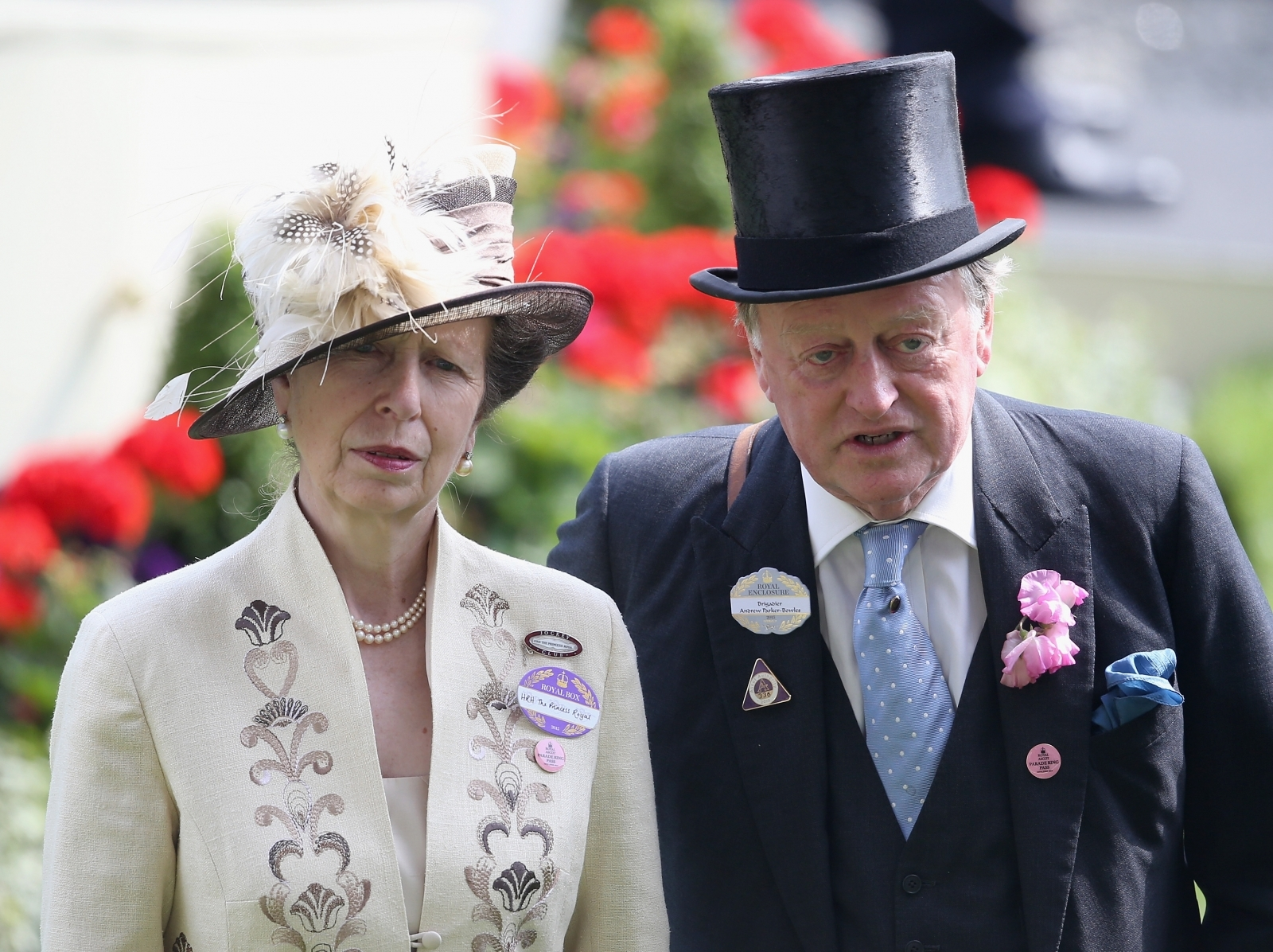Princess Anne and Brigadier Andrew Parker Bowles attending an official ceremony