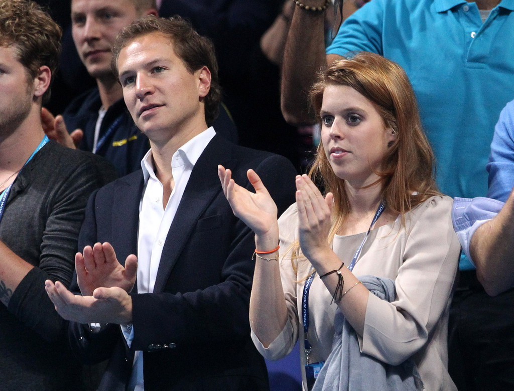 Princess Beatrice and Dave Clark while watching a tennis match between Rafael Nadal and Roger Federer