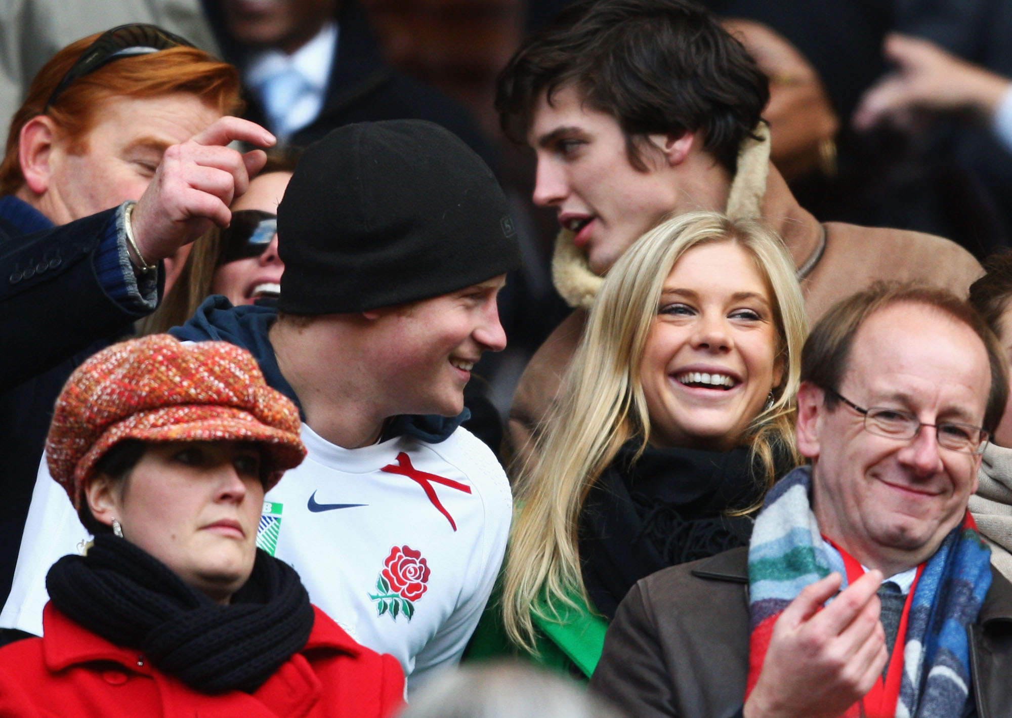 Prince Harry and Chelsy Davy attending a game of the England national rugby union team