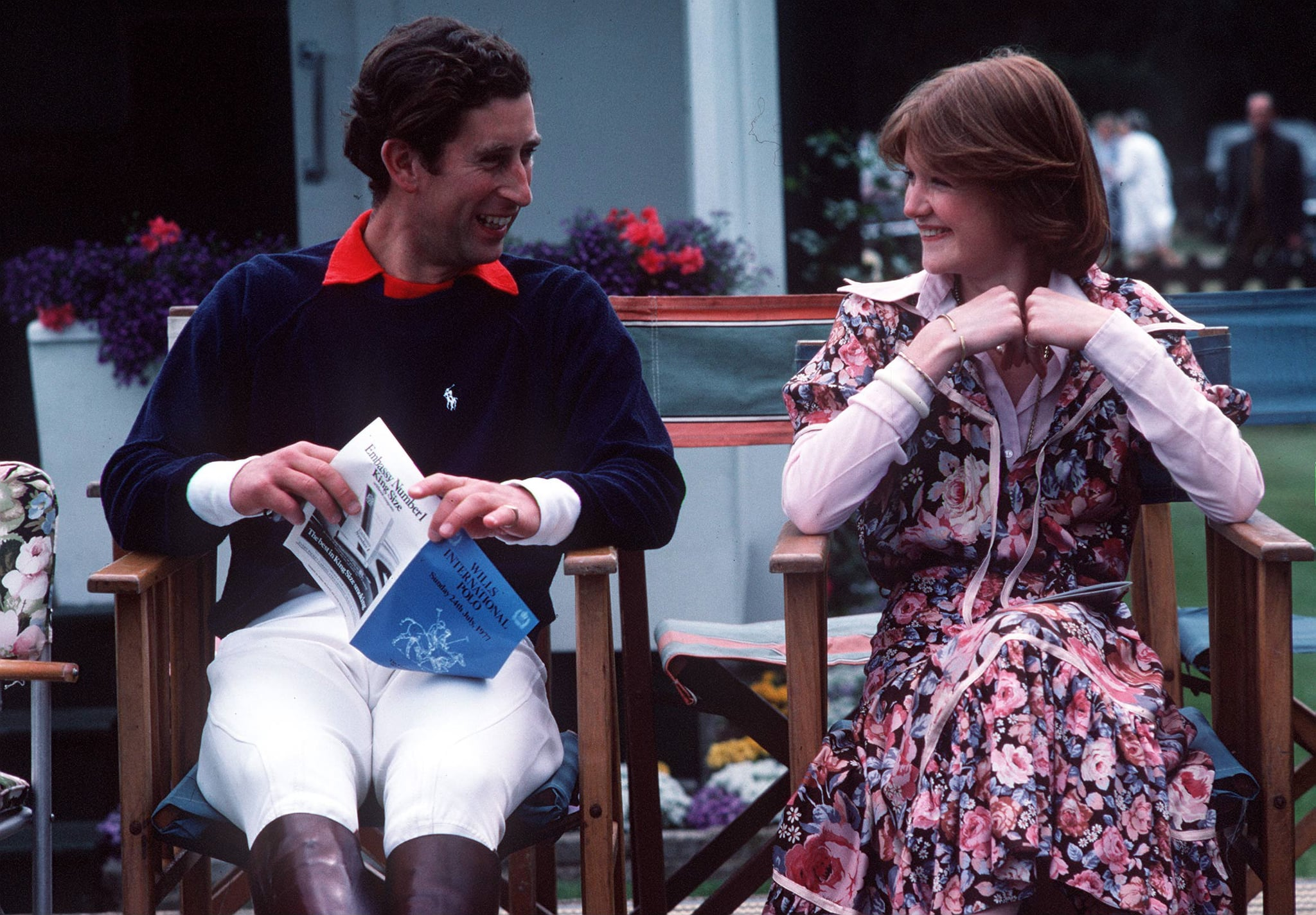 Prince Charles and Lady Sarah Spender discussing during a polo match