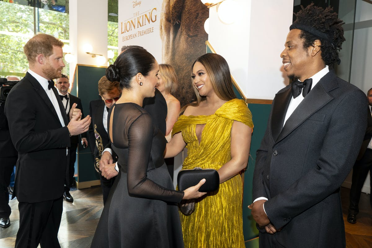 """Beyonce and Jay Z meet Meghan Markle and Prince Harry at the premiere of """"Lion King"""""""
