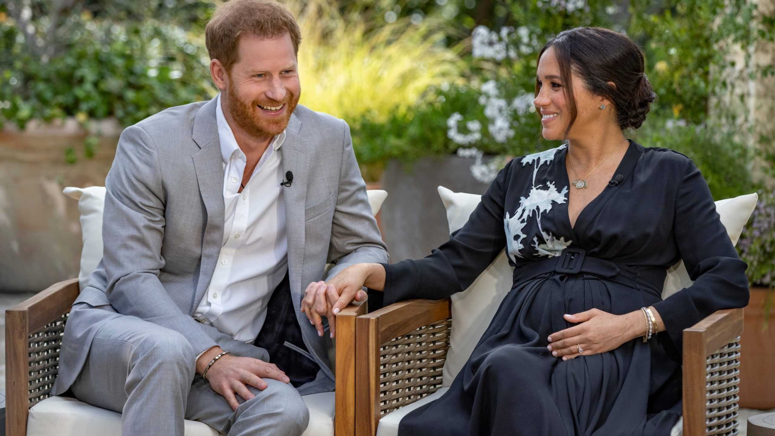 Meghan Markle and Prince Harry during the interview with Oprah