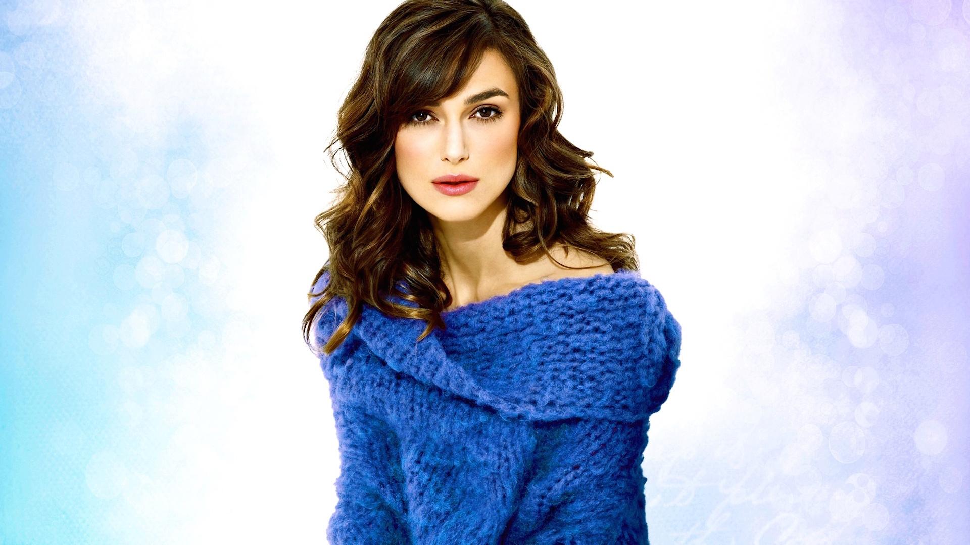 Keira Knightley in a stylish blue sweater