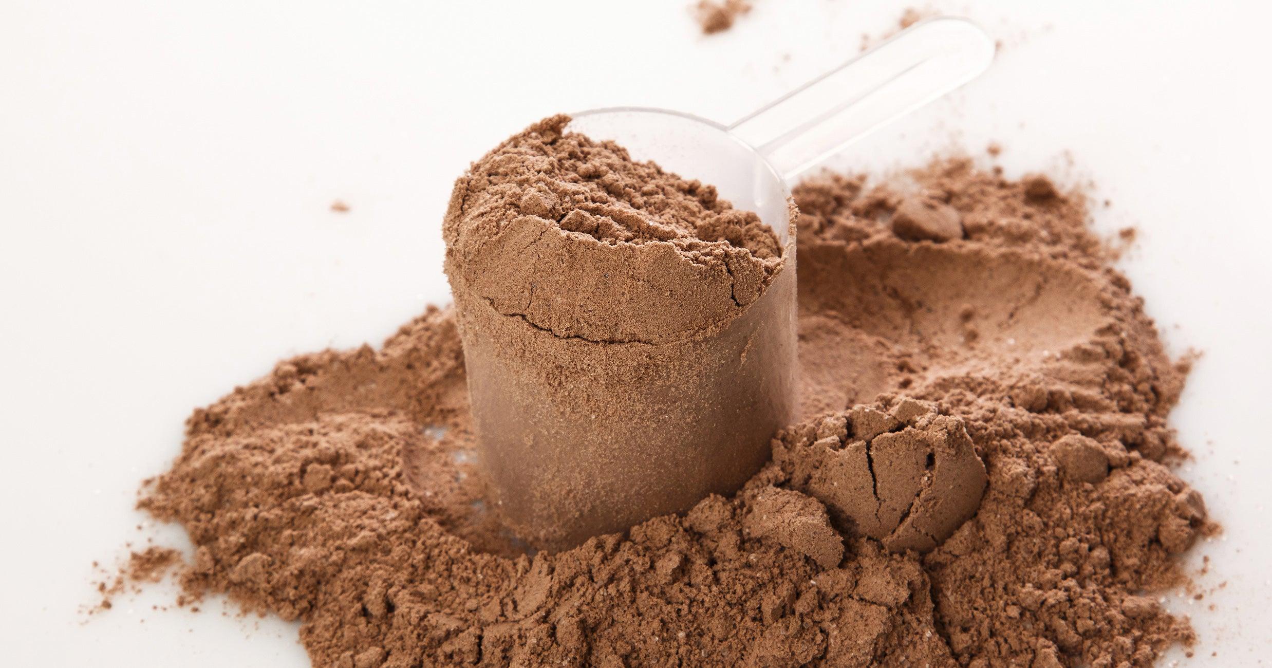 A scoop of brown powder