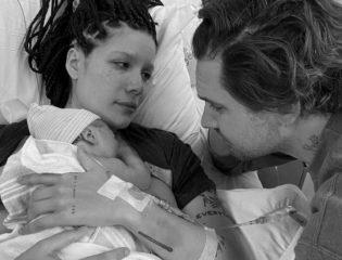 Halsey, her partner Alev Aydin, and their newborn baby Ender Ridley Aydin